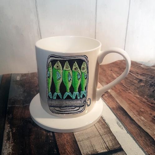 Sardines Bone China Mug & Coaster Set
