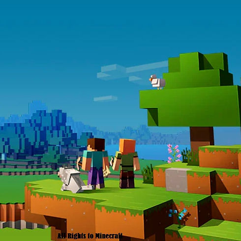 An image (Owned by Minecraft) of two characters and a dog staring at a large world of adventure.
