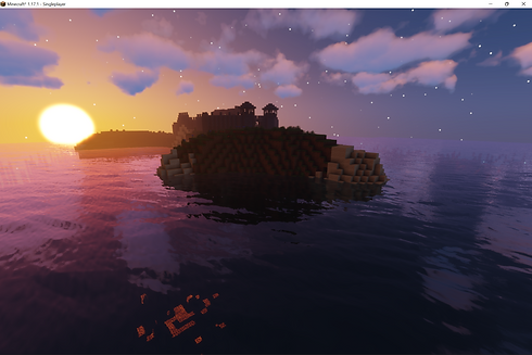A distant island next to a sunrise with castle on it.