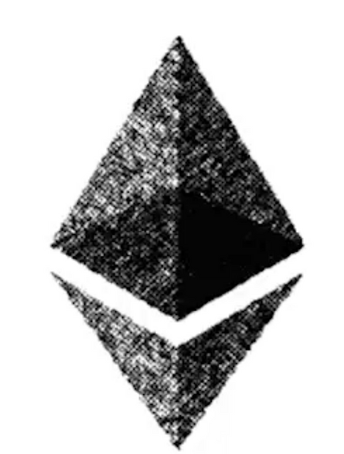 A drawn image of a cryptocurrency called Ethereum
