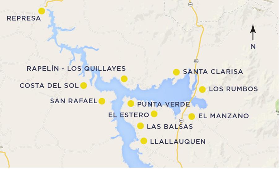 Plano localidades Lago Rapel