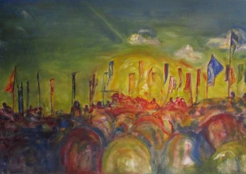 A Poketful of Sunshine from the Summer (acrylic on canvas board, Glastonbury festival)