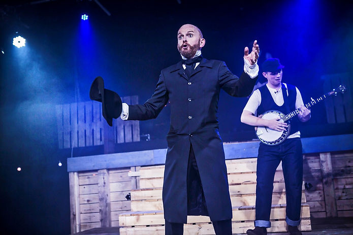 Mark Hird as Charles Guiteau and Sam Hird as the Balladeer in Sondheim's Assassins