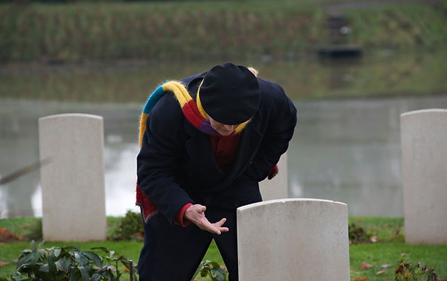 Michael Morpurgo visiting war graves near Ypres