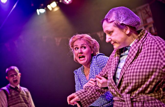 Toni Feetenby as Joyce, Louise Leaf as Mother Dear and Adam Sowter as Gilbert in Betty Blue Eyes
