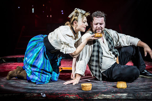 Susannah Baines as Mrs Lovett and Nick Lewis as Sweeney Todd – photo by Matthew Kitchen Photography
