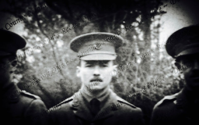 Butterworth in a group photograph of officers of the 13th Battalion, The Durham Light Infantry, March 1915