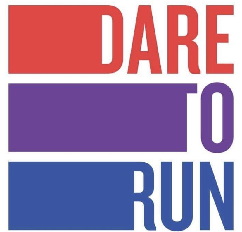 "Red, purple, and blue text that reads ""Dare to Run."""