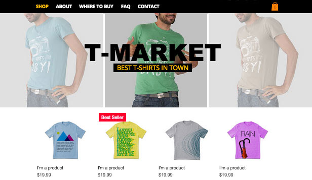 Online Store website templates – T-shirt Market