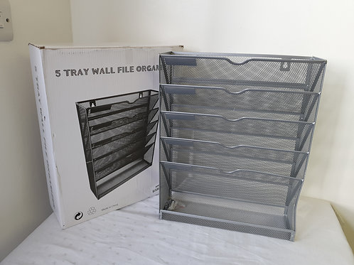 EasyPAG 5 Tier A4 Mesh in Tray Wall Pocket File Holder Mail Organiser Magazine