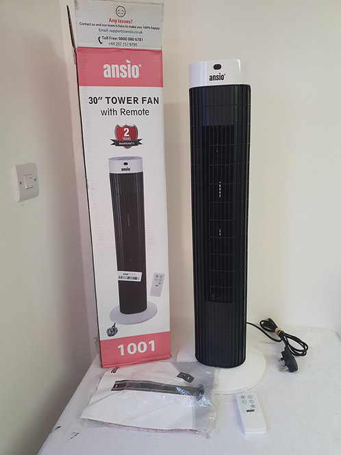 ANSIO Tower Fan 30-inch with Remote For Home and Office, 7.5 Hour Timer, 3 Speed
