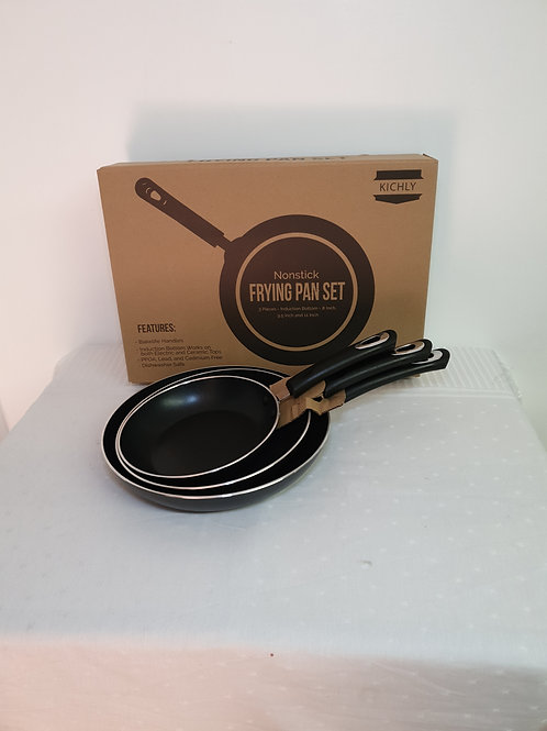 """KICHLY Nonstick Frying Pan Set - 3 Piece Induction Bottom - 8 Inches, 9.5"""""""