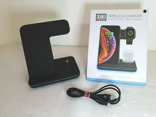 Wireless Charger, ZHIKE 3 in 1 Fast Charging Black