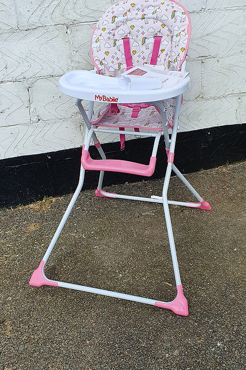 My Babiie MBHC1UN Pink Unicorn Soft Comfortable Compact Highchair