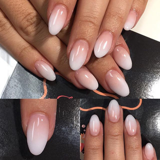Pretty pink + white ombré fade 😍 So in loooove! #ombré #ombrenails #pinkandwhite #acrylics #nails #nailswag #nailsdid #nailsaddict #nailstag