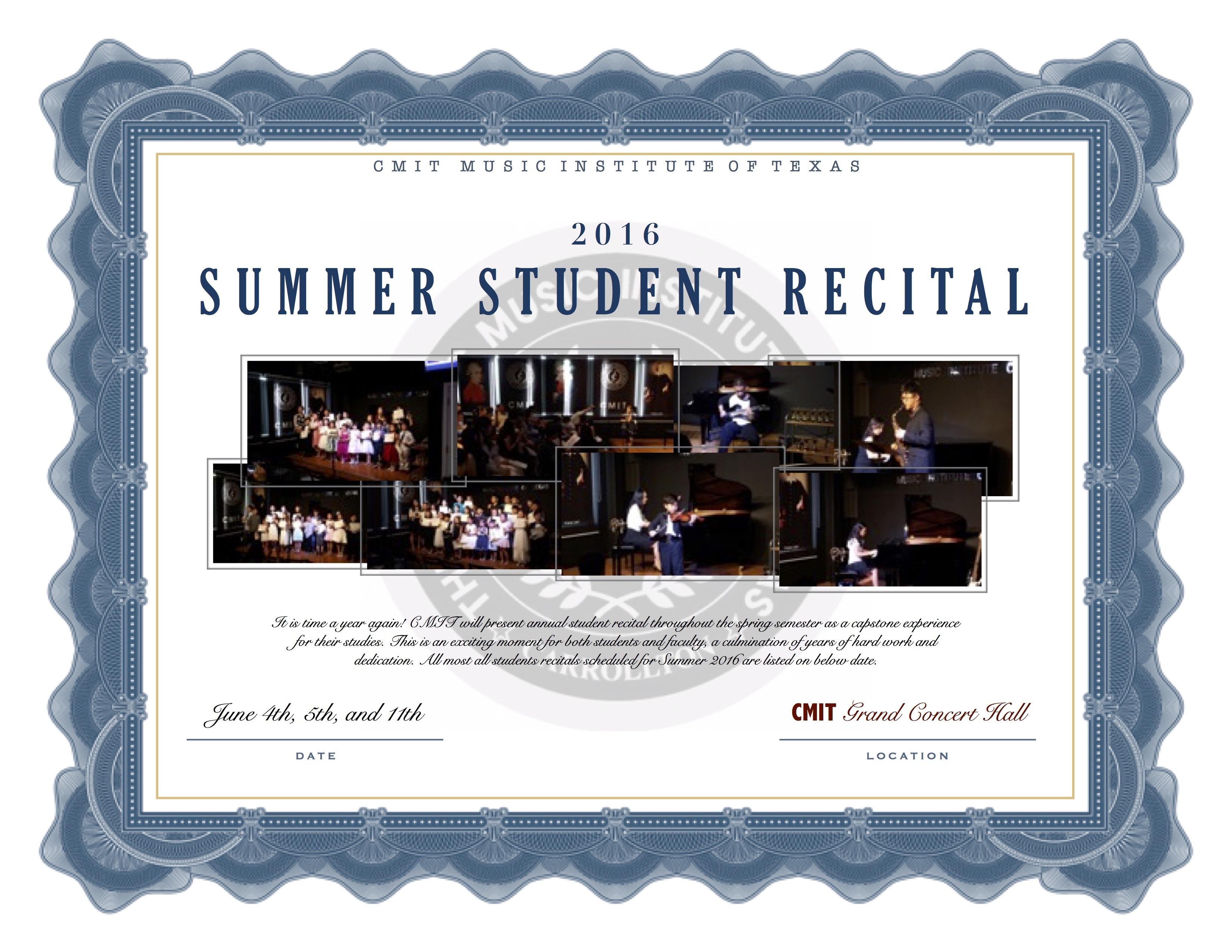2016 CMIT SUMMER STUDENT RECITAL