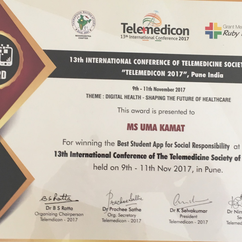 Telemedicon 2017 Award - Uma Kamat