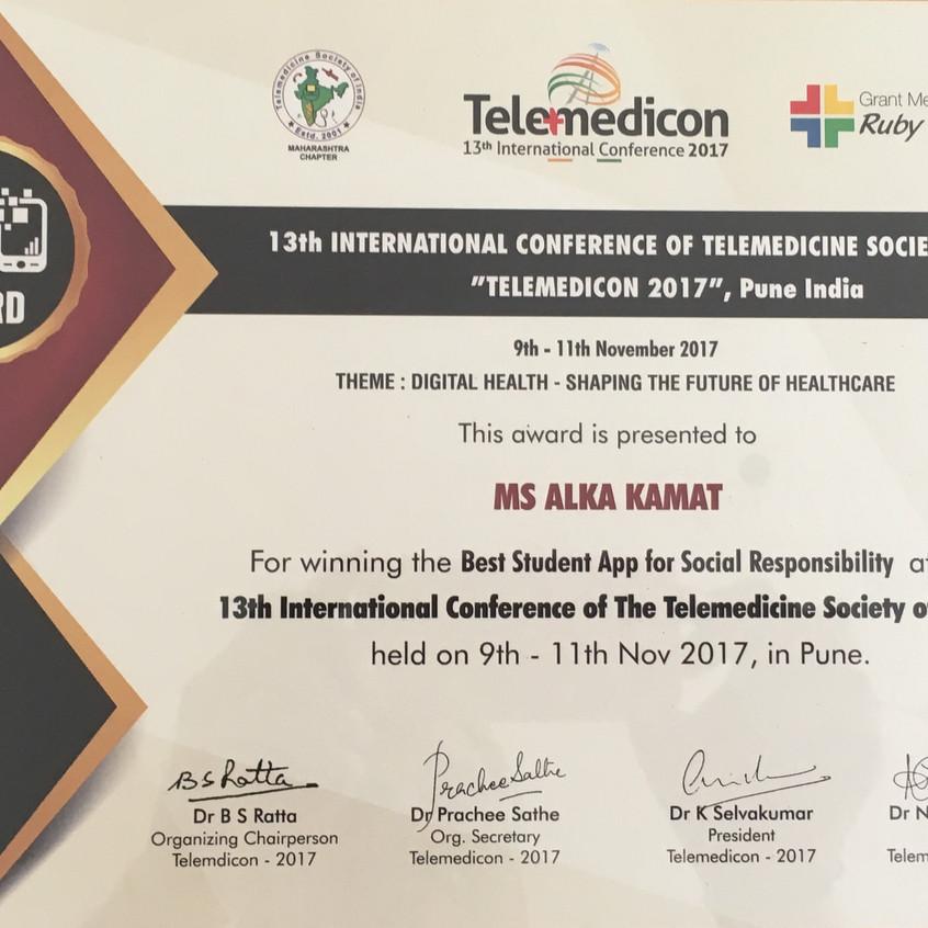 Telemedicon 2017 Award - Alka Kamat