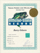 Texas State Record Largemouth Bass Plnor Fishing Certificate