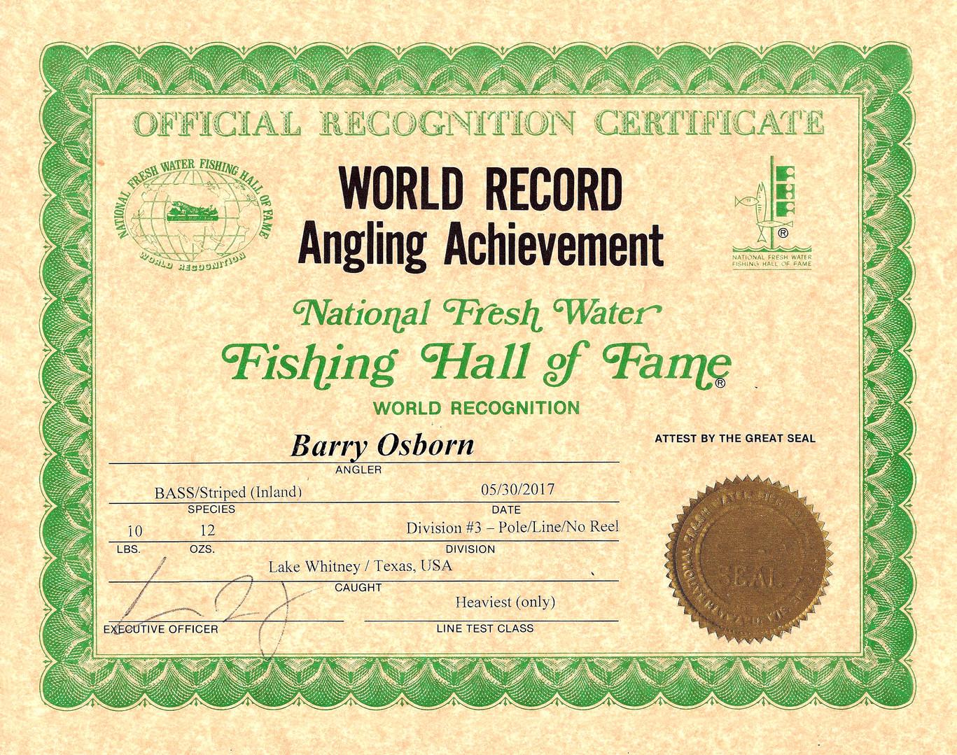Striper Plnor Fishing World Record Certificate