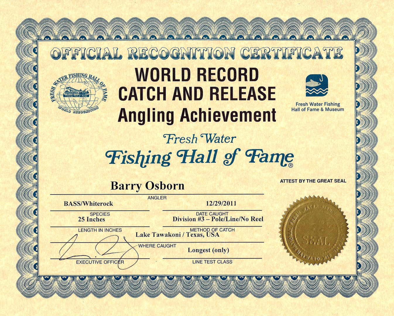 World Record Catch and Release Hybrid Striped Bass (Whiterock Bass) Certificate