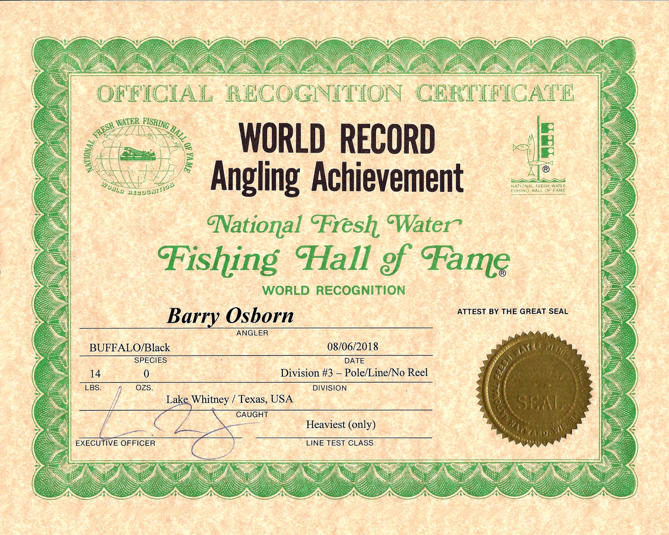 Plnor Black Buffalo World Record Certificate
