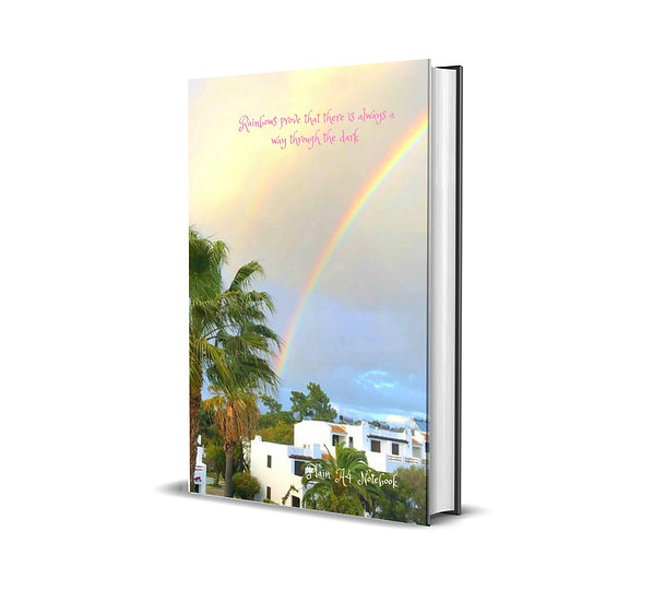 Rainbows rove there is always a way through the dark- A4 Plain Notebook
