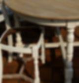 Patine table et chaise de salon