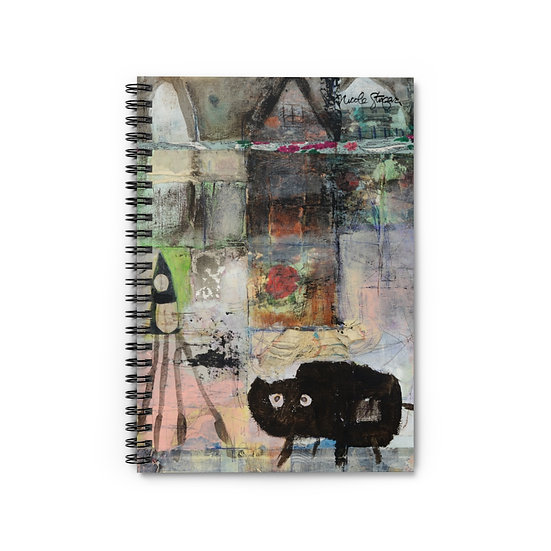 The Cat Lady in Her Studio Spiral Notebook - Ruled Line