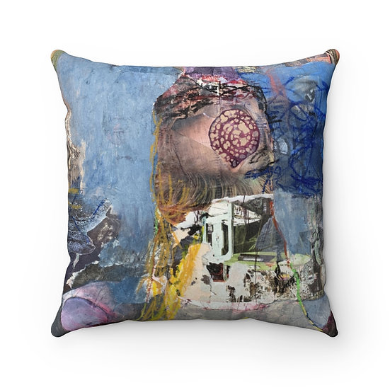 Inside My Body Faux Suede Square Pillow Case