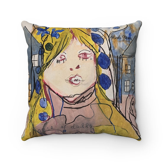 House of Dolls Faux Suede Square Pillow
