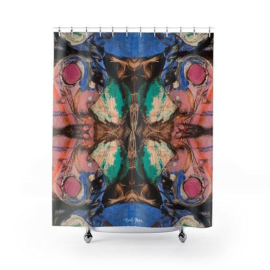 Polka Dot Butterfly Shower Curtain