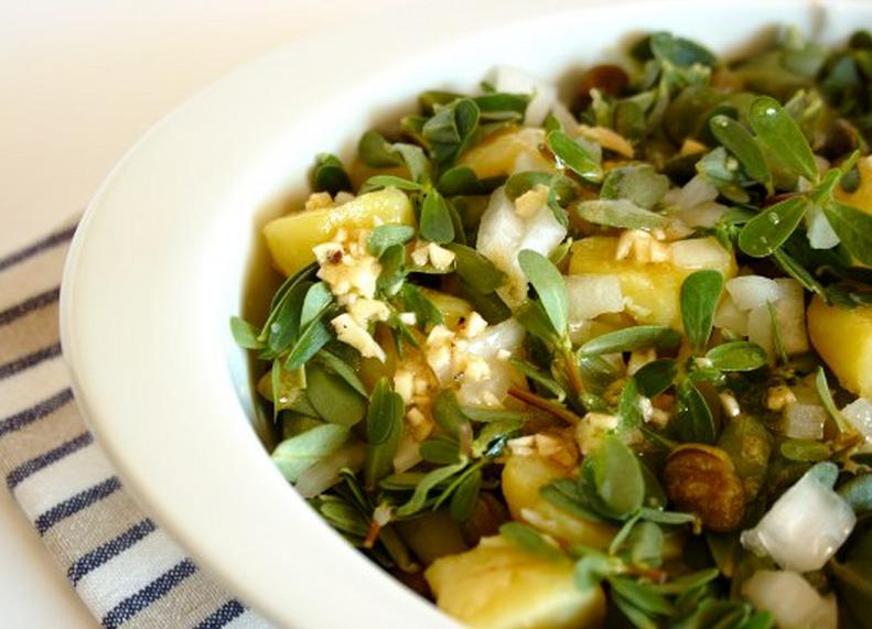 salada de beldroega e batata