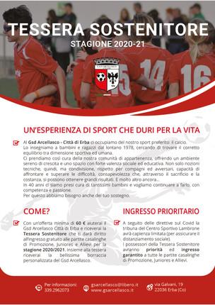 Tessera Sostenitore stagione 2020/21
