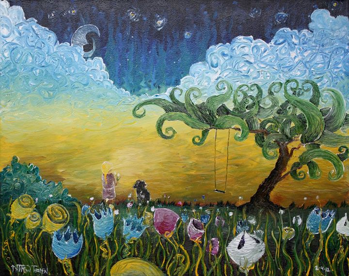In Fields of Flowers- In the Stars__A girl and her dog standing gazing at the stars in middle of a f