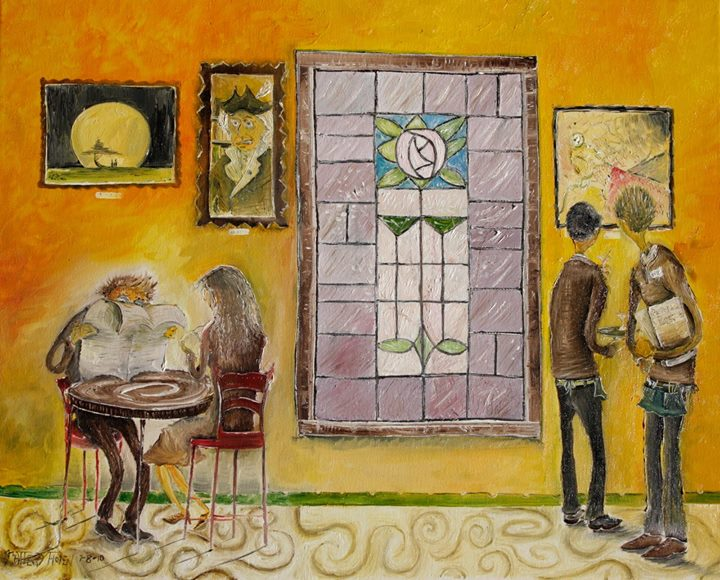 Pasadena Rose__A man and a woman on a romantic date at an artsy french or Italian or... cafe or yea.
