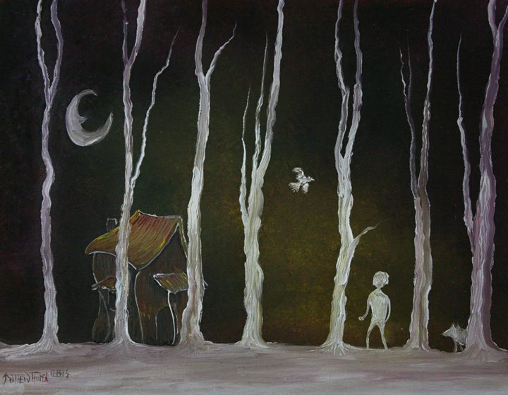 A Winter Night __A white dude walks through a line of white bare trees with his white dog gazing at