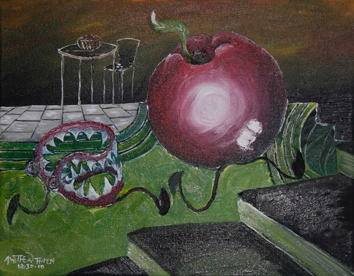 The Teeth and the Apple__An apple runs for it's dear fleeting life from a set of sharp dentures that