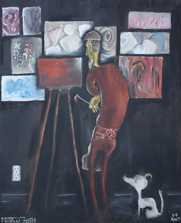 Painter's Block__An artist stands perplexed, not having a clew what to do with a canvas he just star