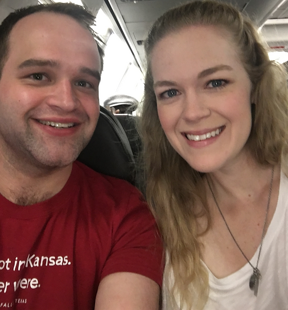 We're pictured on the plane to Dice Tower Con 2017.