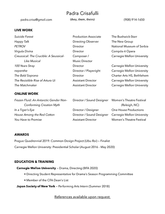 Padra Crisafulli Directing Resume 11:20