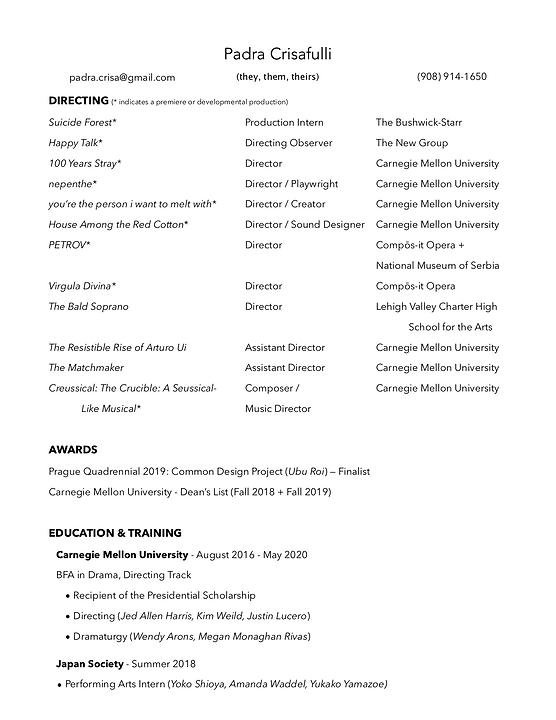Padra Crisafulli Directing Resume (Apr 2