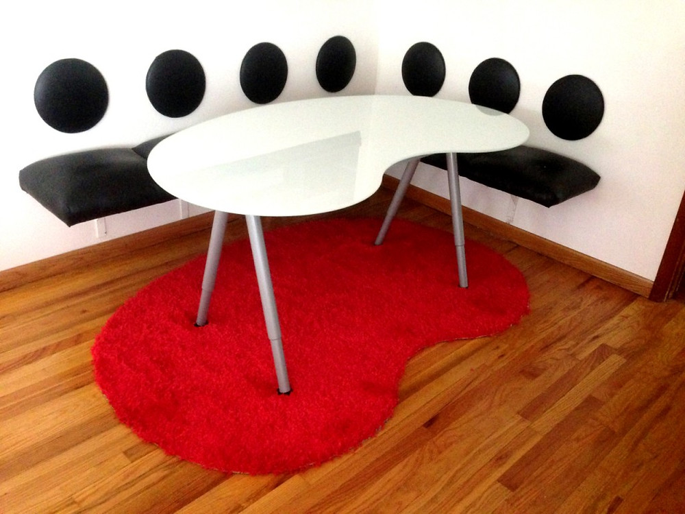leather bench and leather round backs made with Roden Leather's Solana Line