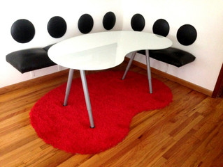 Dining L space saving leather bench and leather round backs made with Roden Leather's Solana Lin