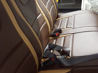 Truck upholstered with Roden Leather Company's Stella Line of upholstery leather.