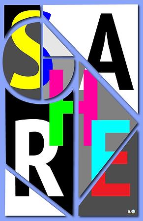 'SHARE' - 3D Floating Geometric Shapes - Letter Slice.png