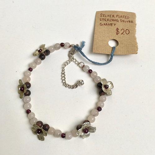 Sterling Silver, Garnet, and Semiprecious Stone Dogwood Flower Bracelet