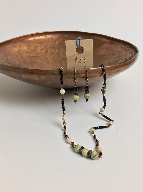 """Copper, Glass, and Stone earring and 16"""" Necklace Set"""