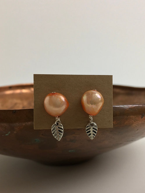 Freshwater Pearl and Silver Plated Leaves Stud Earrings