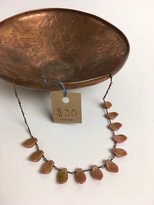"""Copper and Glass Leaves 18"""" Necklace"""